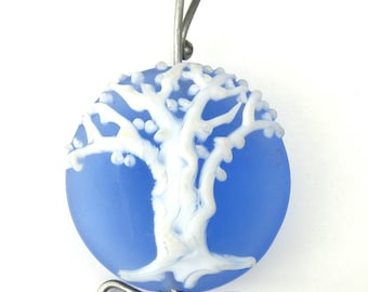 Lampworked frosted blue tree glass focal bead pendant