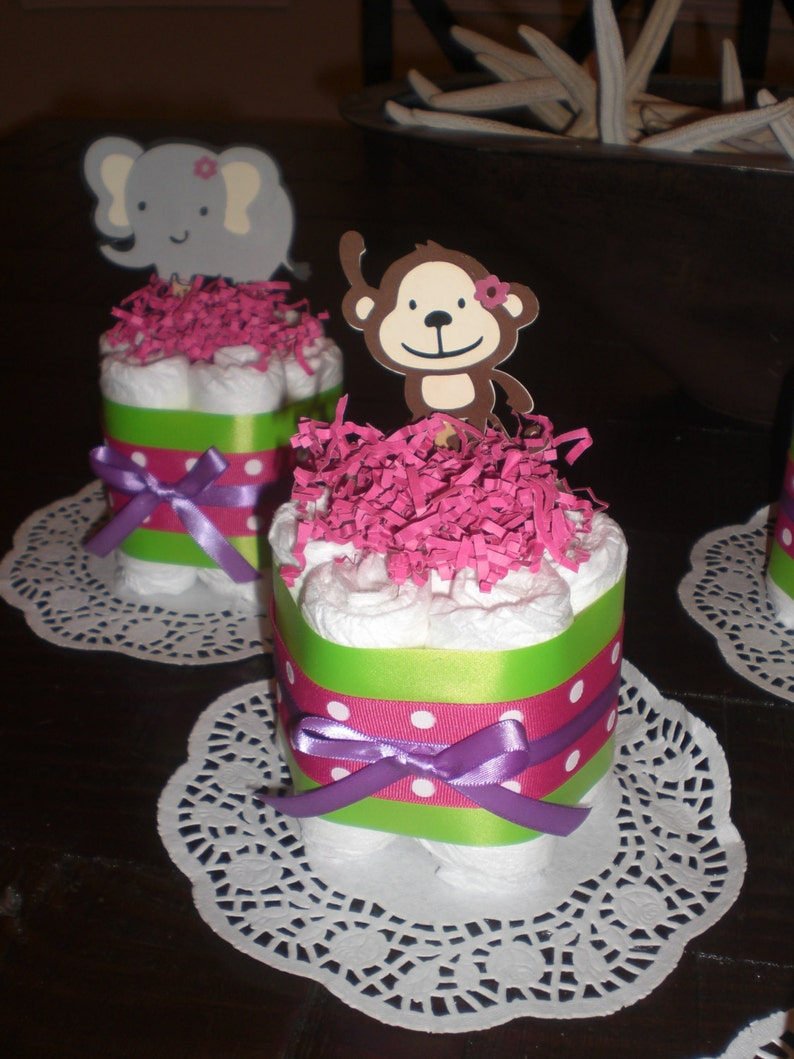 Monkey Jungle Jill Girl safari Diaper Cakes Baby Shower Centerpieces other animals and sizes too
