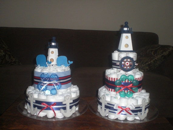 Nautical Lighthouse Whale Diaper Cake Baby Shower Centerpiece Etsy
