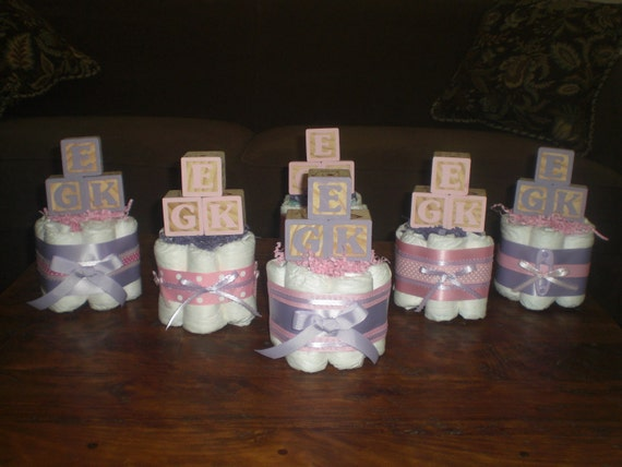 Pink And Purple Baby Shower Centerpieces Diaper Cakes Other Etsy
