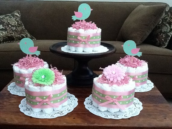 Pink And Green Bird Diaper Cakes Baby Shower Centerpieces Etsy