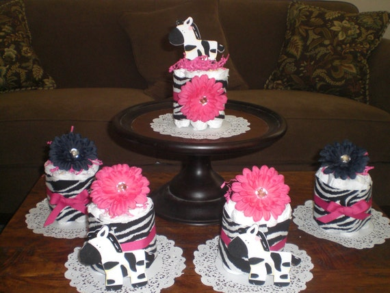 4 ZEBRA HOT PINK DOTS MINI DIAPER CAKES GIRL BABY SHOWER TABLE DECORATION