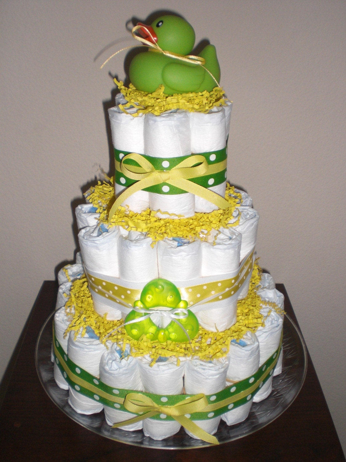 Green and Yellow Duck Diaper Cake Gender Neutral baby shower   Etsy