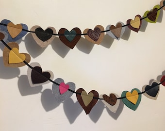leather Heart garland upcycled 2 yards