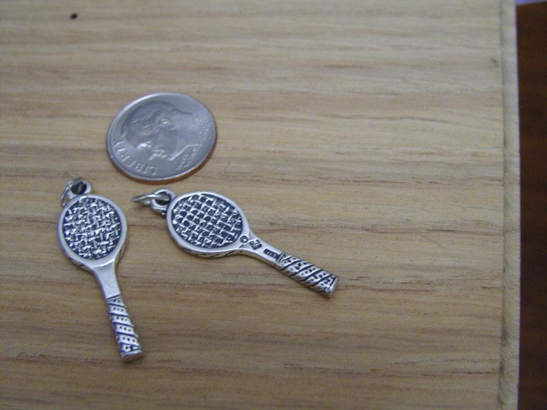 3D Antique Silver Racket Charm
