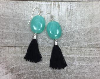 Blue And Black Earrings - Medium Tassel Earrings - Caribbean Green Blue Earrings - Statement Earrings - Wedding Earrings