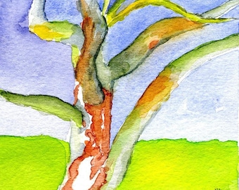 The Funky Tree, Original Watercolor Painting