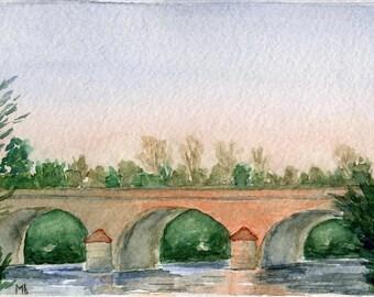 Bridge in Touraine, Original Watercolor Painting