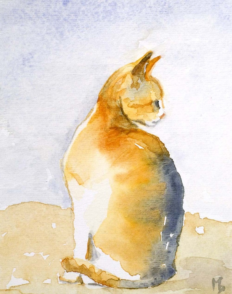 Orange Kitty art print by Marion Bermondy on Etsy. #cat #orangecats #artprint #watercolors