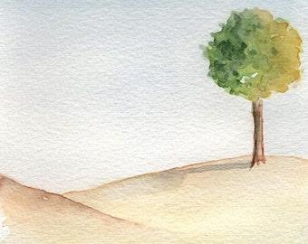 Lone Tree, Print of Watercolor Painting