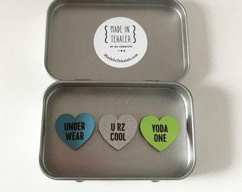 Just for Boys Conversation Hearts - Set of 3 Custom Magnets - Funny Boy Valentine