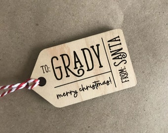 From Santa - Personalized Holiday Gift Tag - Engraved Wood