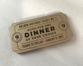Golden Birthday Ticket / Anniversary Ticket / Gift Voucher / Coupon / Token