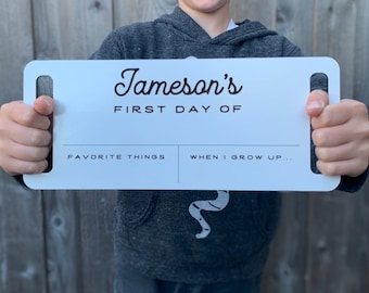Personalized Classy / Modern / Simple / First Day of School Sign / Dry Erase School Sign / Back to School Sign