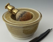 Handthrown Shaving Scuttle in caramel