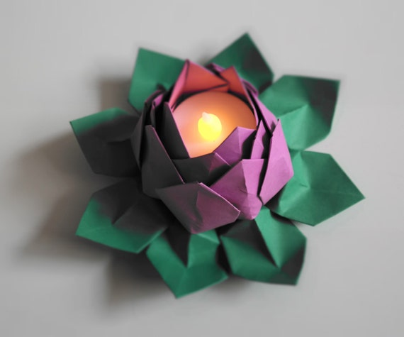 Tealight Origami Water Lily Lotus Blossom Flower One Piece