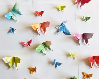 12 Large or 24 Small Swallowtail 3D Origami Butterflies Colorful Streak/Tie Dye Rainbow Print