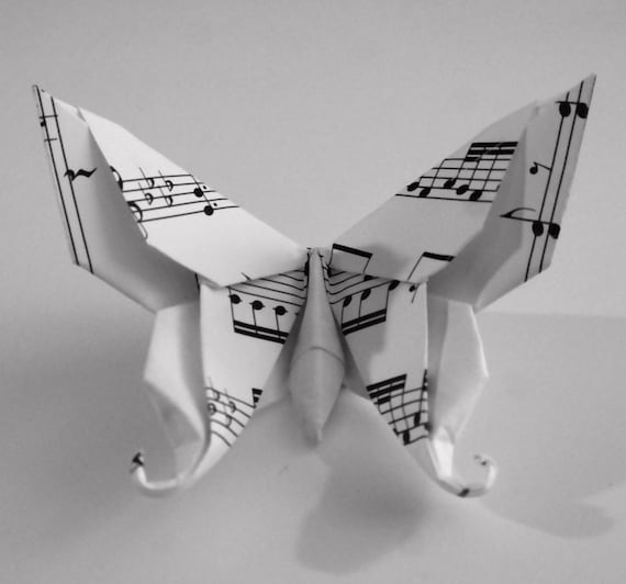 10 Large Swallowtail 3d Origami Butterflies Music Note Print Etsy