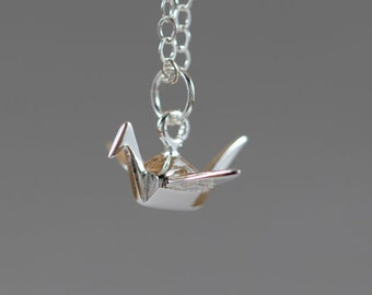 Little Origami Crane Bird Sterling Silver Necklace - Miniature Tiny Cute Animal Nature Simple Dainty Everyday Modern Handmade Jewelry