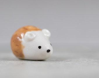 Little Hedgehog - Miniature Terrarium Ceramic Porcelain Animal Figurine Sculpture - Hand Sculpted