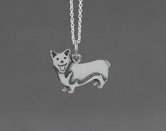 Little Corgi Sterling Silver Necklace - Miniature Tiny Cute Animal Pet Dog Simple Dainty Everyday Modern Handmade Jewelry 2D