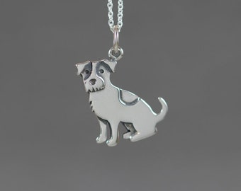 Little Jack Russell Terrier Sterling Silver Necklace - Miniature Tiny Cute Animal Pet Dog Simple Dainty Everyday Modern Handmade Jewelry 2D