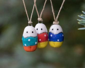 Little Mummer Christmas Tree Ornament - Miniature Ceramic Porcelain Colorful Decoration Holiday Figurine Sculpture - Hand Sculpted
