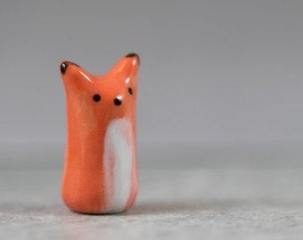 Tall Little Orange Fox - Terrarium Figurine - Miniature Tiny Ceramic Porcelain Animal Sculpture - Hand Sculpted