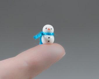 Itty Bitty Micro Snowman Decoration - Miniature Christmas Terrarium Ceramic Porcelain Holiday Snow Figurine Sculpture - Choose Color