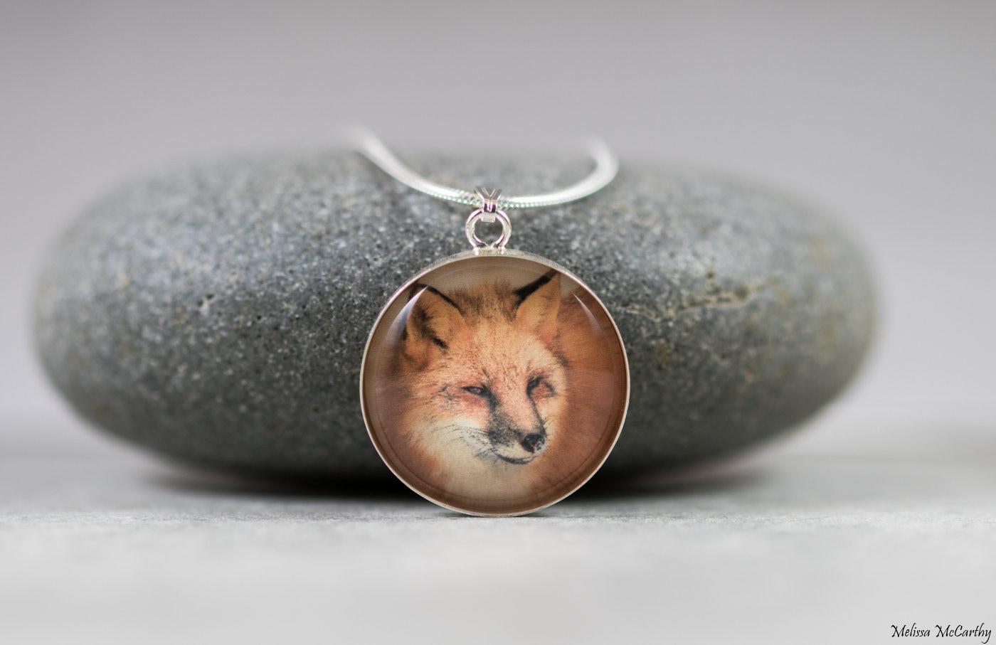 e703c2767c40a Red Fox Sterling Silver Photo Necklace - Mini Tiny Animal Photography  Portrait, Nature Wildlife Jewelry, Glass Pendant, Orange