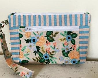 Blue Peach Floral Zippered Devon pouch Wallet Wristlet fabric bag Art Bag  Gadget Cosmetic Bag Smart Phone clutch Purse