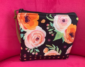 Zippered Pouch Rifle Paper Co. fabric  black floral orange dots  bag Art Bag  Gadget Cosmetic Bag Gift Pink with leather zipper pull