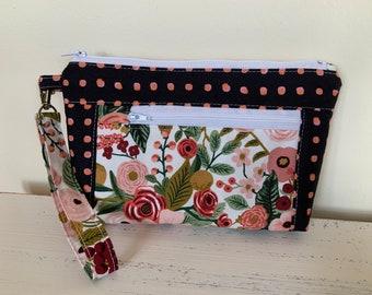 Black Polka Dot  Floral Zippered Devon pouch Wallet Wristlet fabric bag Art Bag  Gadget Cosmetic Bag Smart Phone clutch Purse