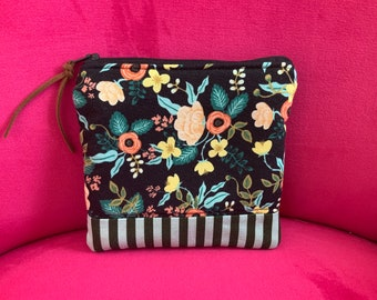 Zippered Pouch Rifle Paper Co. fabric green floral  stripe  fabric bag Art Bag  Gadget Cosmetic Bag Gift Pink with leather zipper pull