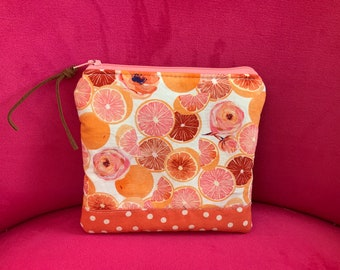 Zippered Pouch  Citrus Orange Dots   fabric bag Art Bag  Gadget Cosmetic Bag Gift Pink with leather zipper pull