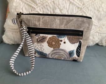 Gray Floral Zippered Devon pouch Wallet Wristlet waxed linen Rifle Paper Company fabric bag Art Bag  Gadget Cosmetic Bag Smart Phone Purse