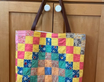 Vintage Patchwork Quilted Tote Bag handmade Repurposed Free Shipping