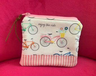 Zippered Pouch Bicycle Flowers Beach Cruiser  fabric bag Art Bag  Gadget Cosmetic Bag Gift Pink with leather zipper pull