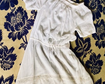 15/% 1970/'s Peasant Edwardian Linen Summer Dress 70/'s Long White and Red Linen Dress ON SALE