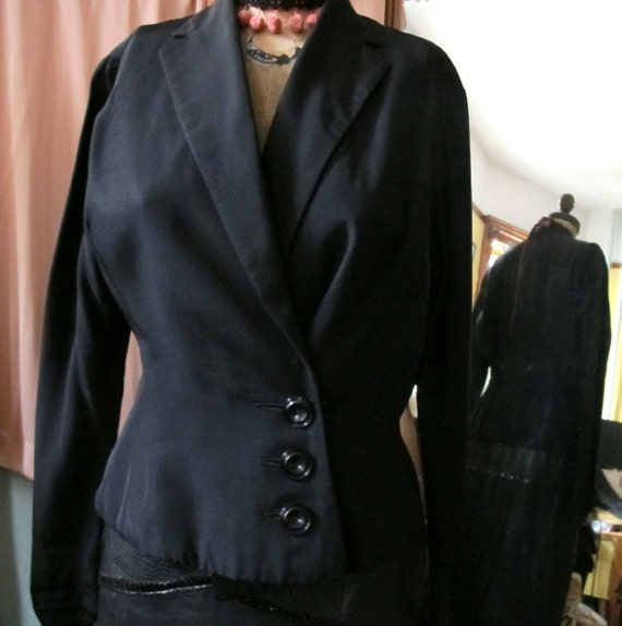 40s evening jacket, Vintage black Party Jacket, Sh