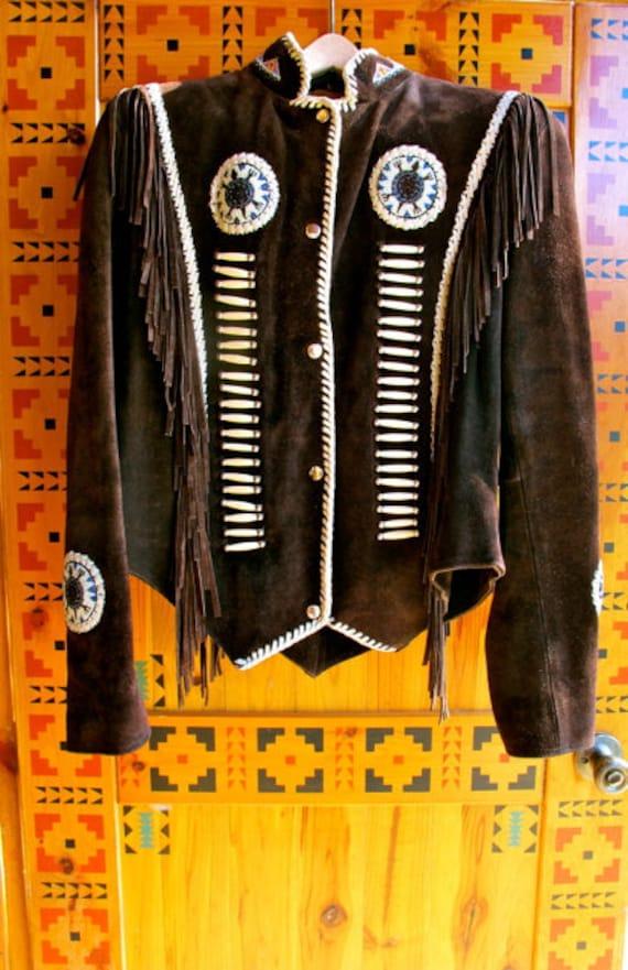 Vintage Fringed coat, brown suede fringe jacket, … - image 1