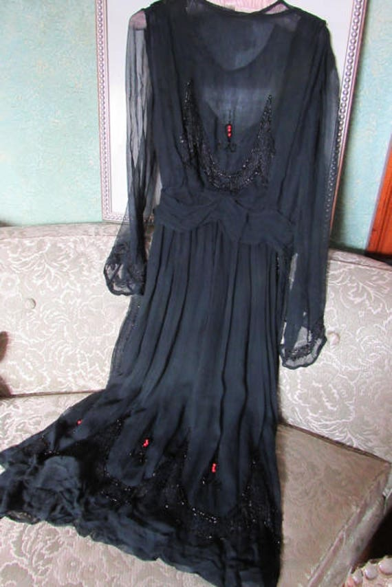 20s Chiffon Dress, AS IS 20s silk beaded dress, Ex