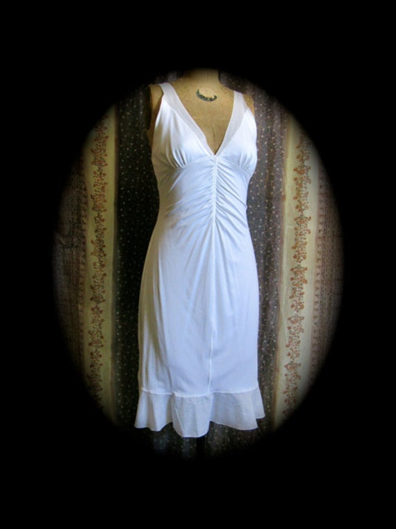 90s strappy dress, deep v ruched bodice white dres