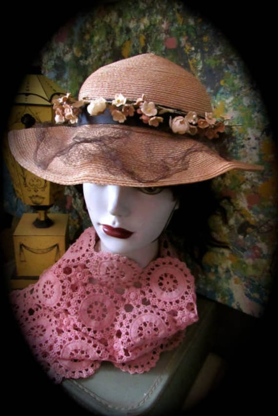 30s straw hat, vintage sunday hat, period hat, cos