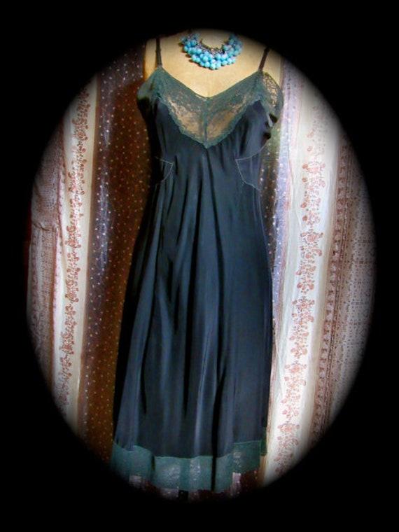Vintage black rayon slip, 40s full slip, black sli