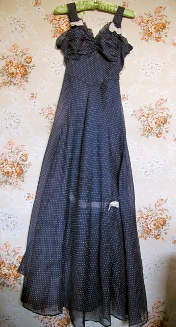 30s Dress, Navy Organdy Gown, Prom, Debutante Gown