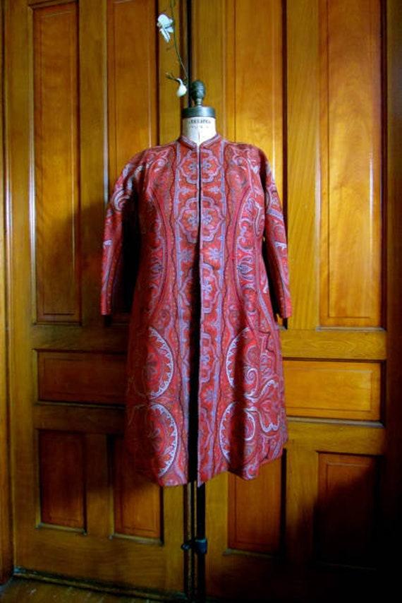 vintage paisley coat, 40s paisley coat, Victorian