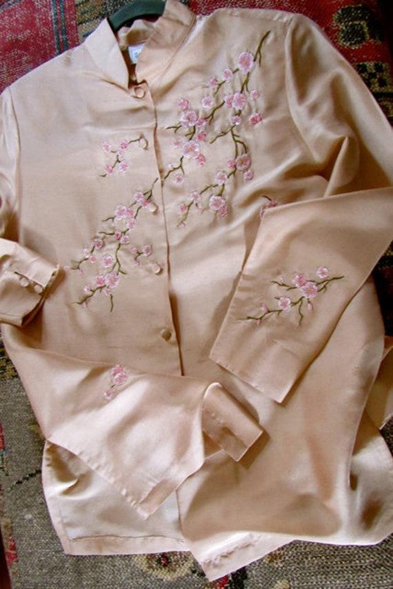 Vintage Asian blouse, cherry blossom top, size m,
