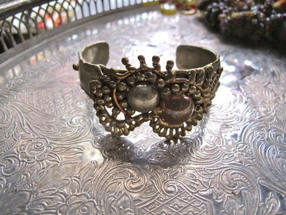 Brutalist bracelet,  Mixed Metals cuff, Mexico art