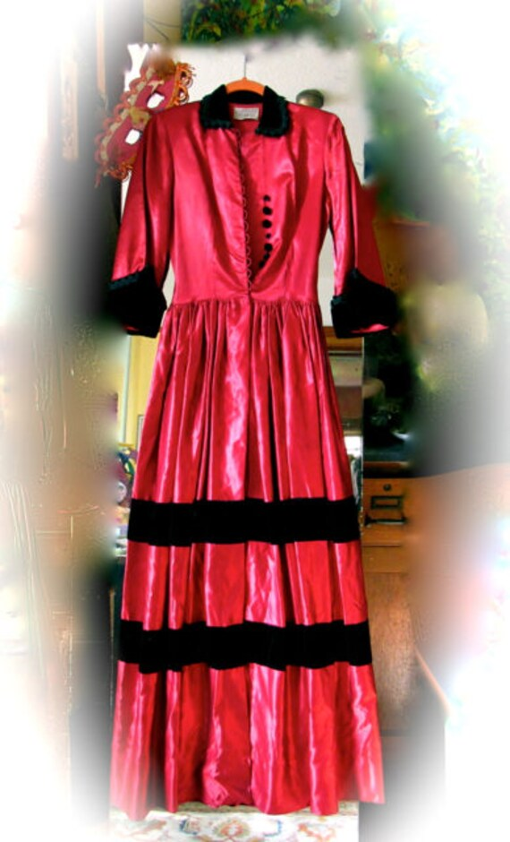 Vintage Satin Gown, 1940s Flobert dress, AS IS red